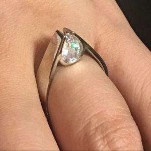 Unique tear shape solitaire CZ ring